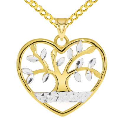 14k Yellow Gold Textured Heart Shaped Two Tone Tree of Life Pendant with Curb Chain Necklace