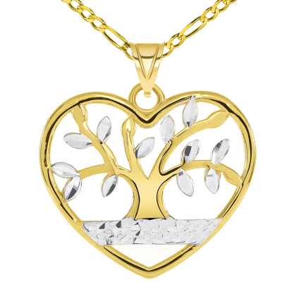 14k Yellow Gold Textured Heart Shaped Two Tone Tree of Life Pendant with Figaro Chain Necklace