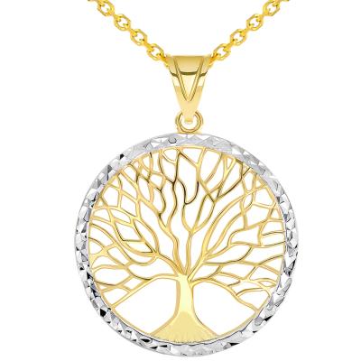 14k Yellow Gold Textured Round Elegant Two Tone Tree of Life Medallion Pendant Necklace