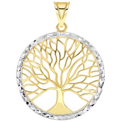 14k Yellow Gold Textured Round Elegant Two Tone Tree of Life Medallion Pendant