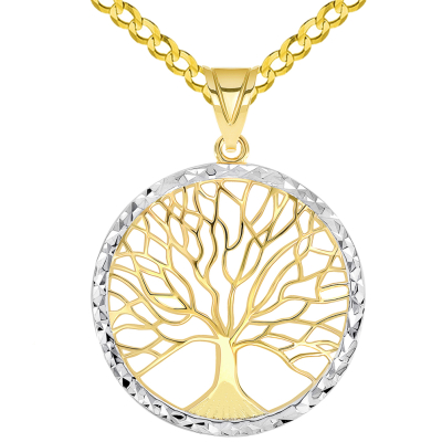 14k Yellow Gold Textured Round Elegant Two Tone Tree of Life Medallion Pendant with Curb Chain Necklace