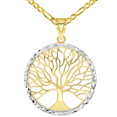 14k Yellow Gold Textured Round Elegant Two Tone Tree of Life Medallion Pendant with Figaro Chain Necklace