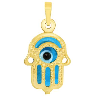 14k Yellow Gold Mini Blue Evil Eye Hamsa Hand Charm Pendant