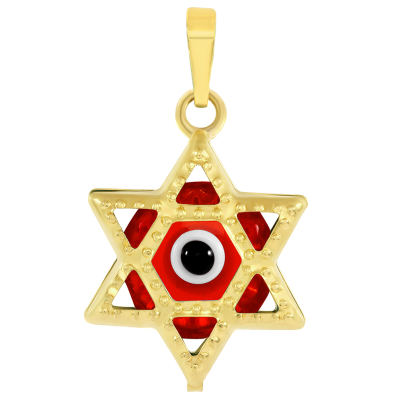 14k Yellow Gold Small Red Evil Eye Star of David Charm Pendant