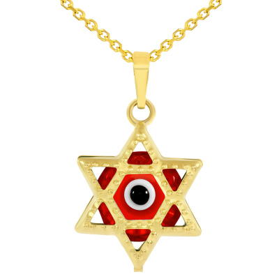 14k Yellow Gold Small Red Evil Eye Star of David Charm Pendant Necklace