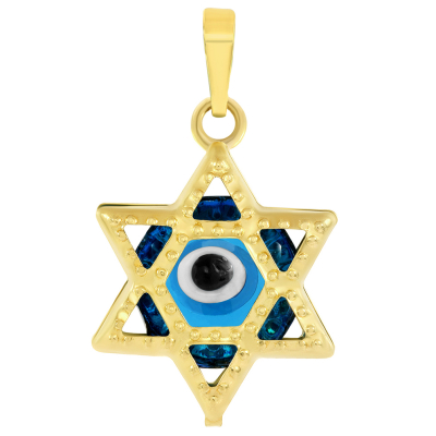 14k Yellow Gold Small Blue Evil Eye Star of David Charm Pendant