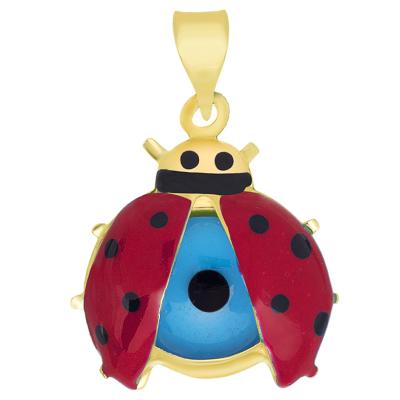 14k Yellow Gold Red Enameled LadyBug with Evil Eye Pendant