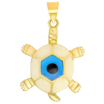 14k Yellow Gold Blue Evil Eye Turtle Pendant
