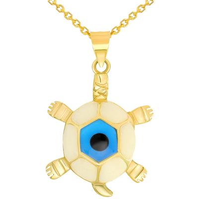 14k Yellow Gold Blue Evil Eye Turtle Pendant Necklace