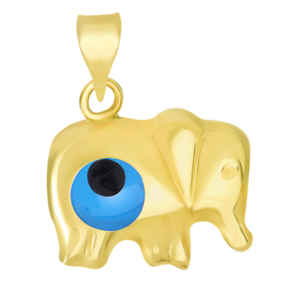 14k Yellow Gold Good Luck Elephant with Blue Evil Eye Charm Pendant