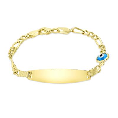 14k Yellow Gold Blue Evil Eye Engravable ID Figaro Link Bracelet