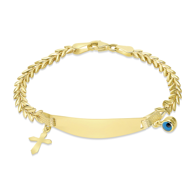 14k Yellow Gold Engravable ID V-Shape Link Bracelet with Evil Eye and Religious Cross Charm