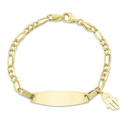 Solid 14k Yellow Gold or White Gold Figaro Link Engravable Personalized ID Bracelet with Evil Eye Hamsa Hand Charm