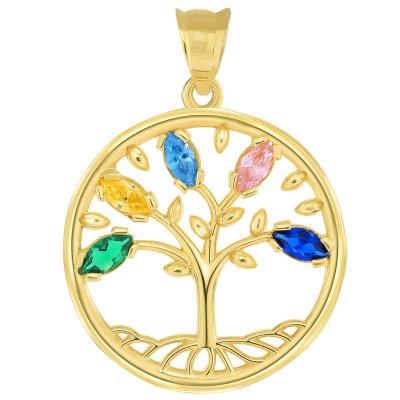 14k Yellow Gold Cubic Zirconia Round Elegant Tree of Life Medallion Pendant