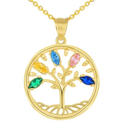 14k Yellow Gold Cubic Zirconia Round Elegant Tree of Life Medallion Pendant Necklace