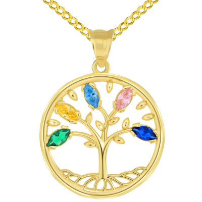 14k Yellow Gold Cubic Zirconia Round Elegant Tree of Life Medallion Pendant Curb Chain Necklace