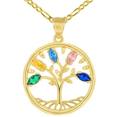 14k Yellow Gold Cubic Zirconia Round Elegant Tree of Life Medallion Pendant Figaro Chain Necklace