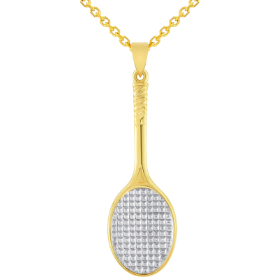 Solid 14k Yellow Gold Classic Tennis Racket Sports Pendant Necklace