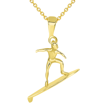 Solid 14k Yellow Gold Surfer Surfing on Surfboard Pendant Necklace