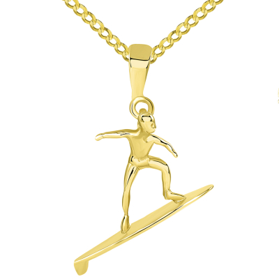 Solid 14k Yellow Gold Surfer Surfing on Surfboard Pendant Cuban Necklace