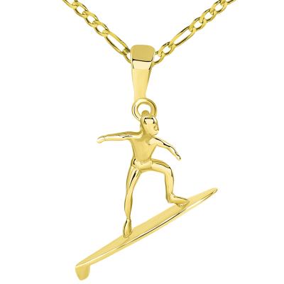 Solid 14k Yellow Gold Surfer Surfing on Surfboard Pendant Figaro Necklace