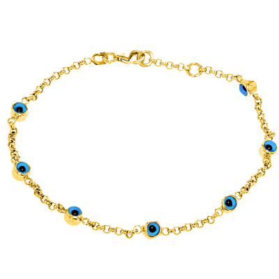 Polished 14k Yellow Gold Chain Link Bracelet with Blue Evil Eye