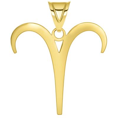 Solid 14k Yellow Gold Aries Zodiac Symbol Pendant