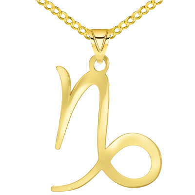 Solid 14k Yellow Gold Capricorn Zodiac Symbol Pendant with Cuban Concave Curb Chain