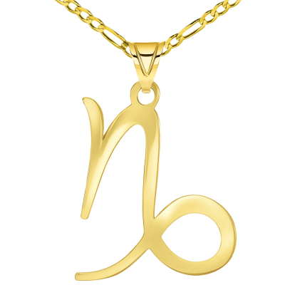 Solid 14k Yellow Gold Capricorn Zodiac Symbol Pendant with Figaro Chain Necklace