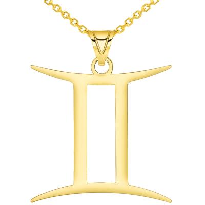 Solid 14k Yellow Gold Gemini Zodiac Symbol Pendant Necklace