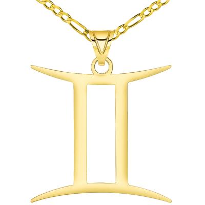 Solid 14k Yellow Gold Gemini Zodiac Symbol Pendant Necklace with Figaro Chain