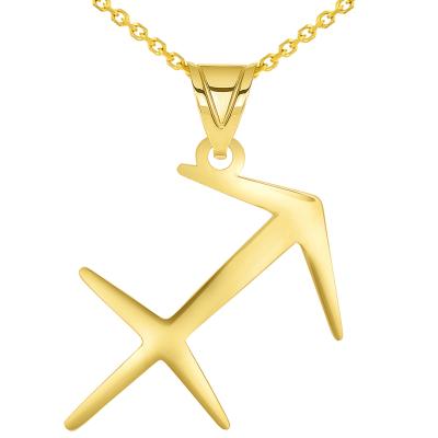 Solid 14k Yellow Gold Sagittarius Arrow Zodiac Symbol Pendant Necklace