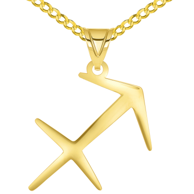 Solid 14k Yellow Gold Sagittarius Arrow Zodiac Symbol Pendant Necklace with Cuban Concave Curb Chain