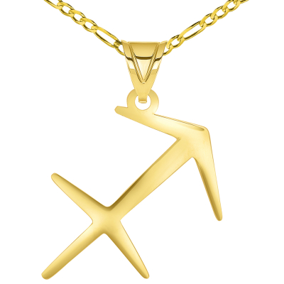 Solid 14k Yellow Gold Sagittarius Arrow Zodiac Symbol Pendant Necklace with Figaro Chain