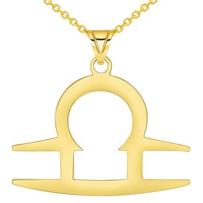 Solid 14k Yellow Gold Libra Zodiac Symbol Pendant Necklace