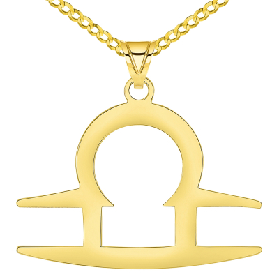 Solid 14k Yellow Gold Libra Zodiac Symbol Pendant Necklace with Cuban Concave Curb Chain