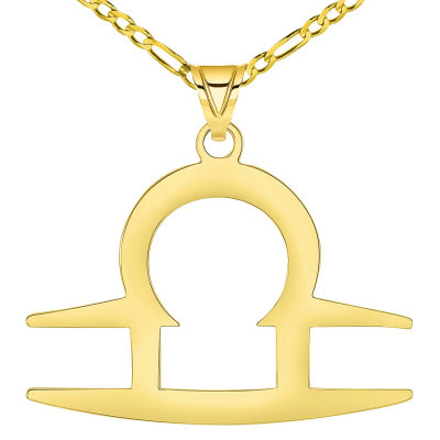 Solid 14k Yellow Gold Libra Zodiac Symbol Pendant Necklace with Figaro Chain