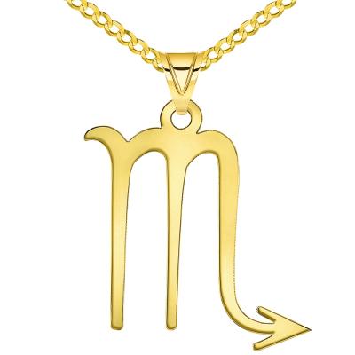 Solid 14k Yellow Gold Scorpio Zodiac Symbol Pendant Necklace Cuban Concave Curb Chain