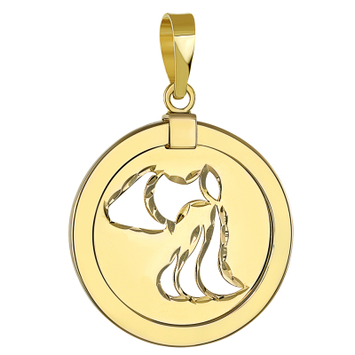 14K Yellow Gold Reversible Round Aquarius Zodiac Sign Pendant