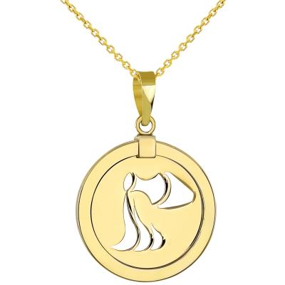 14K Yellow Gold Reversible Round Aquarius Zodiac Sign Pendant Necklace