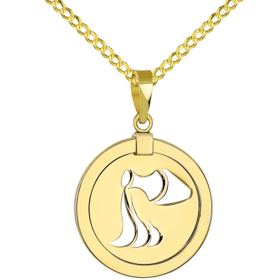 14K Yellow Gold Reversible Round Aquarius Zodiac Sign Pendant with Cuban Chain Necklace