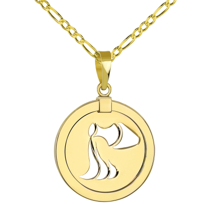 14K Yellow Gold Reversible Round Aquarius Zodiac Sign Pendant with Figaro Chain Necklace