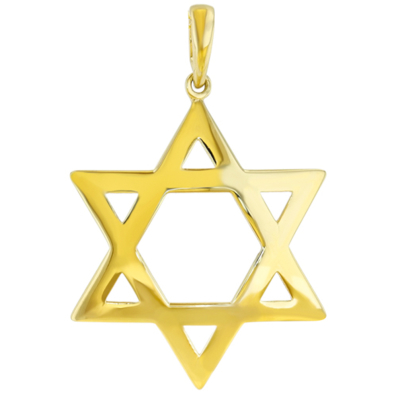 14K Yellow Gold Large Star of David Pendant with High Polish