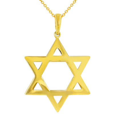 Polished 14K Yellow Gold Large Star of David Pendant Necklace