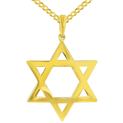 Polished 14K Yellow Gold Large Star of David Pendant with Cuban Necklace