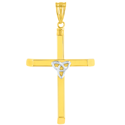 Polished 14K Two-Tone Gold Triquetra Symbol Celtic Trinity Cross Pendant