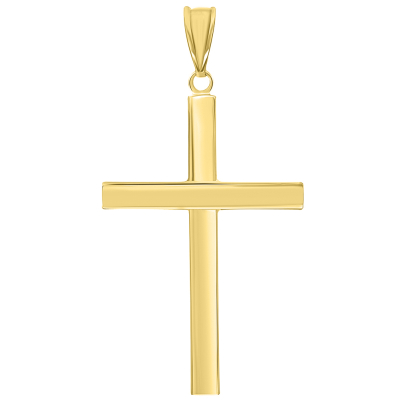 14k Yellow Gold Simple Religious Cross Pendant