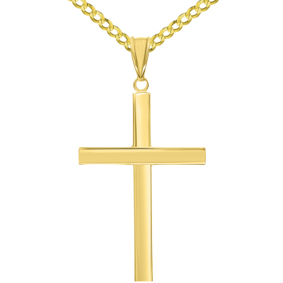 14k Yellow Gold Polished Simple Religious Cross Pendant with Cuban Chain Necklace