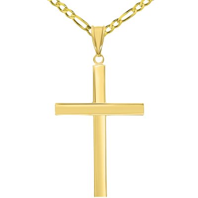 14k Yellow Gold Polished Simple Religious Cross Pendant with Figaro Chain Necklace