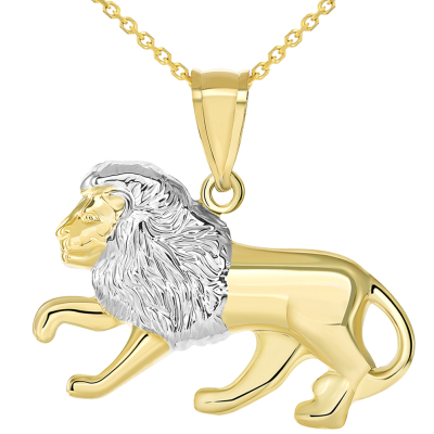 High Polish 14k Gold Lion Pendant Leo Zodiac Sign Charm Necklace